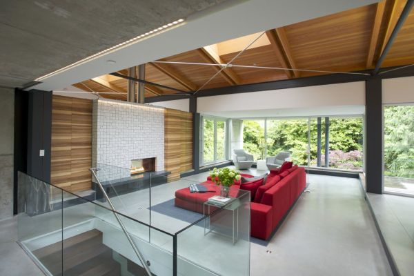 Fresh Open Interior Design Idea In The Middle Of The Nature: Bright Accents Of Red Energize The Room