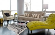 Elegant Interior With Everlasting Chaise Lounge Chair : Bright Chaise In Golden Yellow Brings In Vivid Contrast