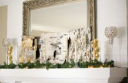 Cool Christmas Mantels Design With Colorful Ribbon And Glossy Ornament : Bright Christmas Mantels Design Glossy Goblets Fake Greenery Classic Mirror