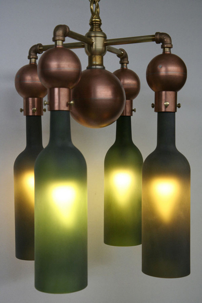 Sparkling Wine Bottle In Eco Friendly Theme For Recycling: Bright Lights In The Wine Bottle Hanging Lamp On The White Ceiling Near The White Wall