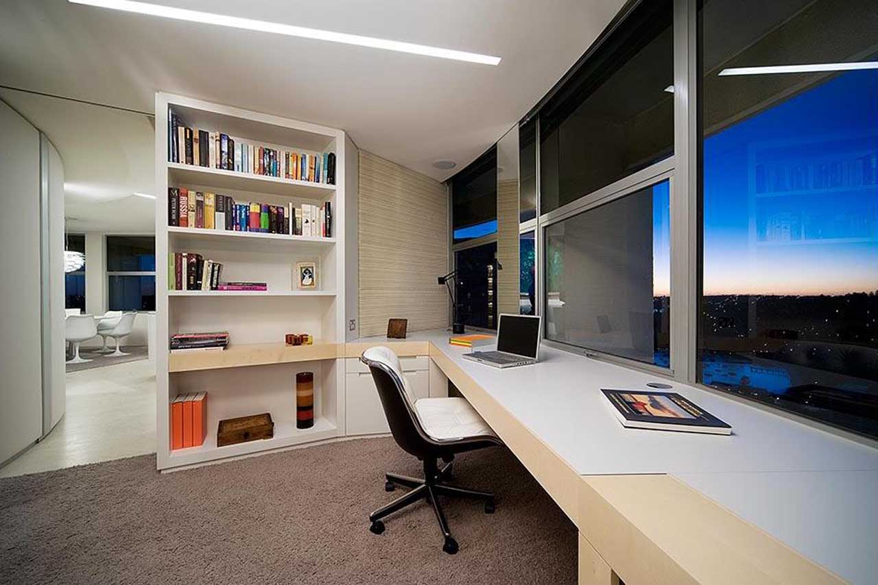 Pleasant Minimalist Office Means Valuable Assets For The Company: Bright Office Design With Amazing City View