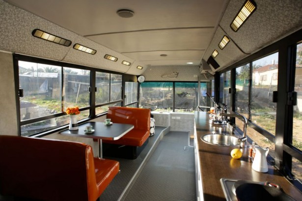 Modern Indoor Made Uniquely In A Bus Interior Space: Bright Seating Options Liven Up The Dining Area With Leather Seat ~ stevenwardhair.com Interior Design Inspiration