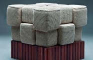 Amazing Knitted Furniture To Bring Positive Atmosphere Inside : Brilliant Knitted Furniture And Furnishings For Winter With Cream And Wooden Material
