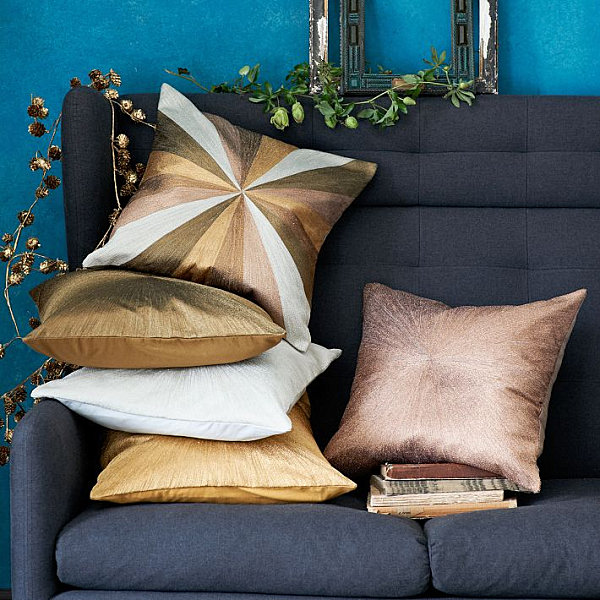Splendid Room Decoration Ideas Use Gold Silver Touch For Luxury: Brilliant Metallic Pillows From West Elm With Blue Sofa Furniture And Gold Pillow