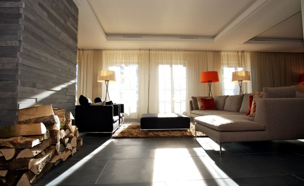Mesmerizing And Luxurious Hotel With Interior Design That Have Mountain View: Brown And Black Sofa Near Orange And White Arch Lamp ~ stevenwardhair.com Hotels & Resorts Inspiration