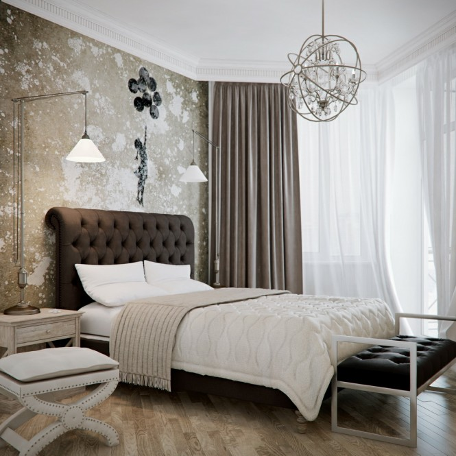 Attention Grabbing Bedroom Walls To Make Your Room Marvelous : Brown Beige Bedroom Design