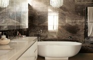 Breathtaking Natural Interior: Mineral Stone Material For Interiors : Brown Marble Bathroom Tile Backsplash And Glossy White Vanity