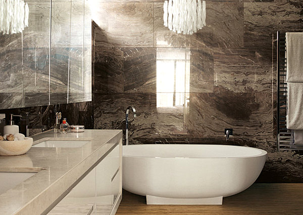 Breathtaking Natural Interior: Mineral Stone Material For Interiors: Brown Marble Bathroom Tile Backsplash And Glossy White Vanity