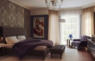 Attention Grabbing Bedroom Walls To Make Your Room Marvelous : Brown Purple Regal Bedroom Decor