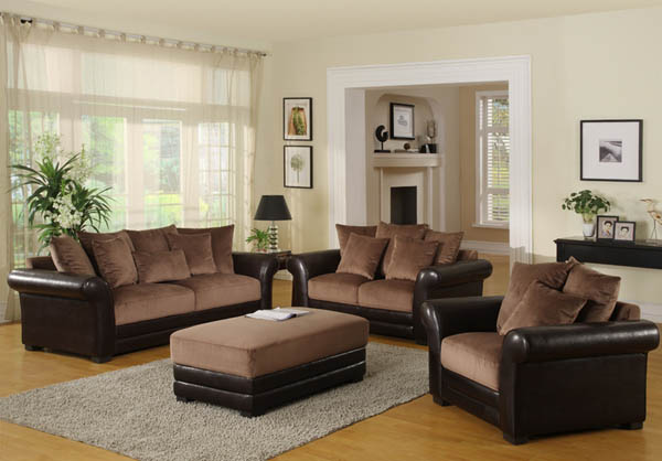 Brown Sofas For Classic Home Design : Brown Sofa Grey Rugs Wall Decoration White Curtain