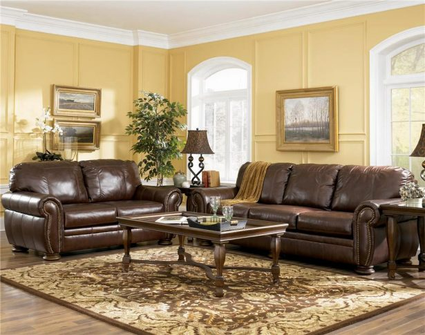 Brown Sofas For Classic Home Design: Brown Sofa Leather Cover Classic Rugs Glass Table Table Lamp ~ stevenwardhair.com Sofas Inspiration