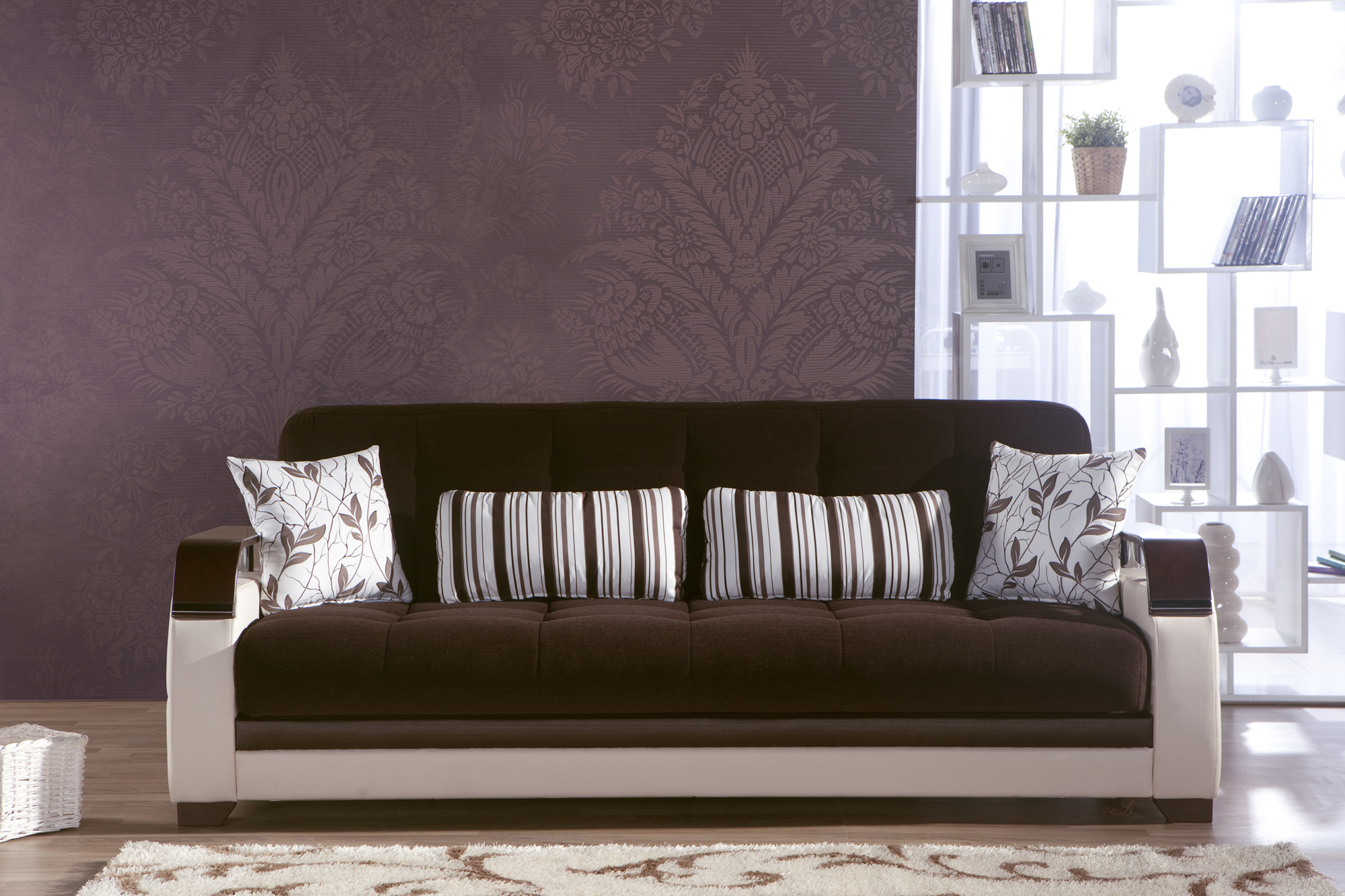 Brown Sofas For Classic Home Design : Brown Sofa White Frame White Rugs  Brown Wallpaper