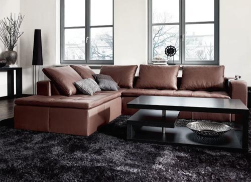Brown Sofas For Classic Home Design : Brown Sofas Black Rugs White Wall Simple Metal Vase