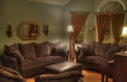 Brown Sofas For Classic Home Design : Brown Sofas Wall Mirror Standing Lamp Brown Curtain