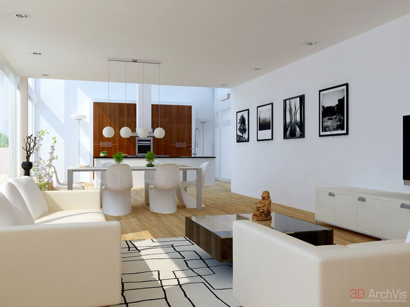 Wonderful Living And Dining Space In One : Brown White Dining Room Living Room