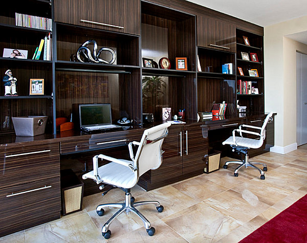 Nice Awesome Home Office Designs Modern Ideas : Built In Desks With A Glossy  Finish