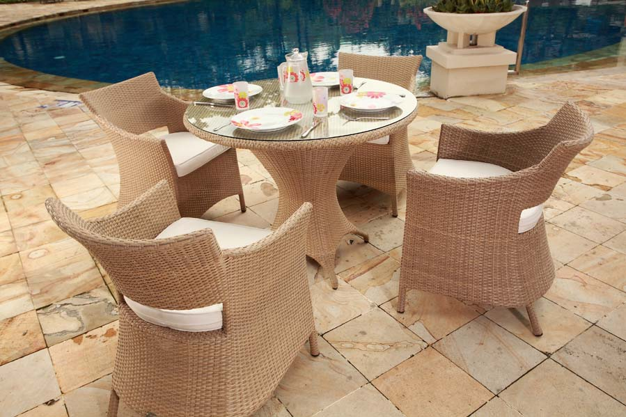 Awe Inspiring Furniture Cane Chair Glass Table Swimming Pool Stone Flower Interior Design Ideas Pimpapslepicentreinfo
