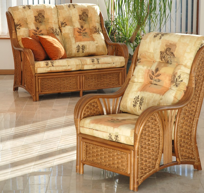 Cane Conservatory Furniture For Indoor And Outdoor Design : Cane Chair Plant Foam Motives Small Brown Tile Green PLant