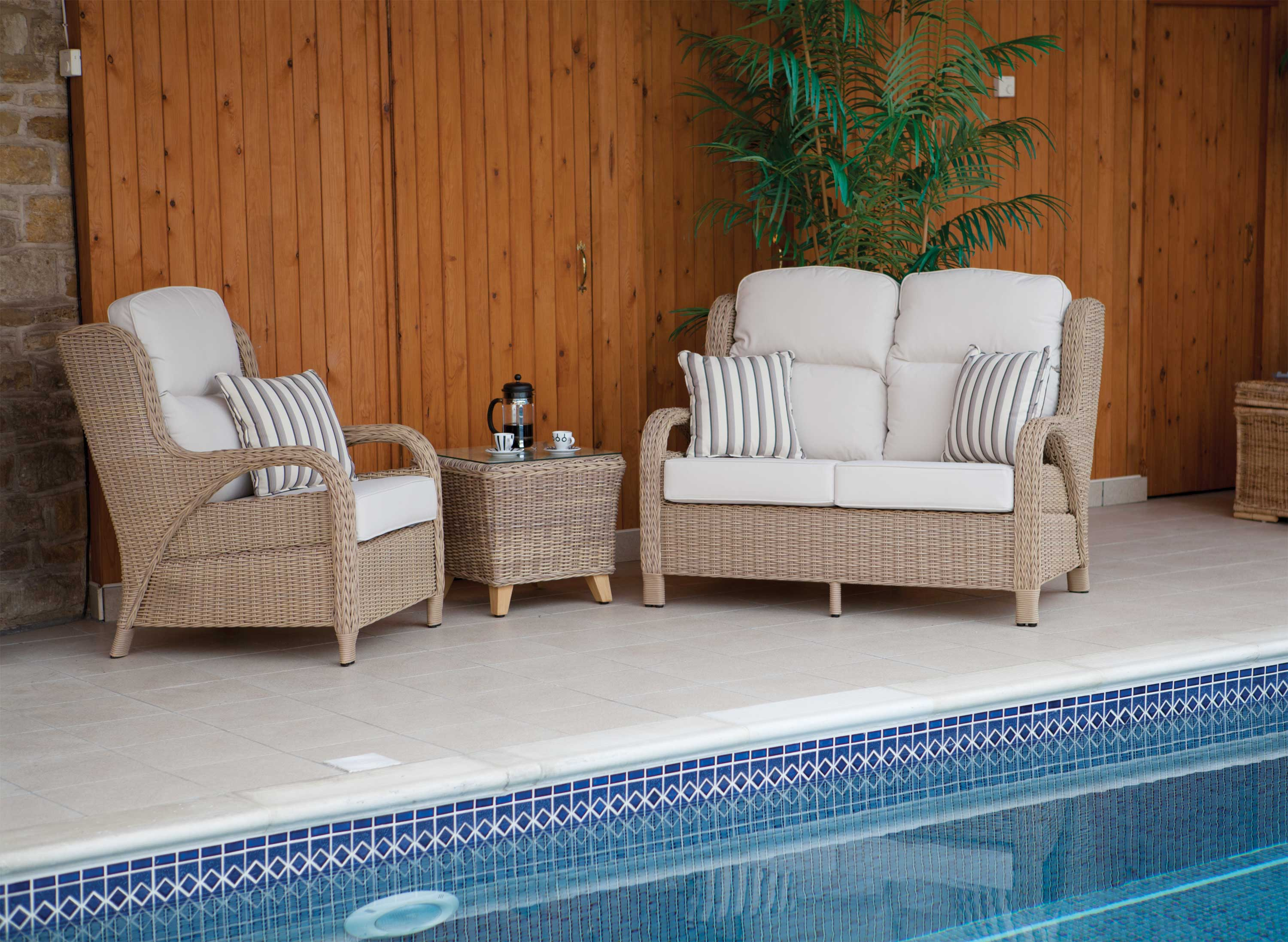Cane Conservatory Furniture For Indoor And Outdoor Design: Cane Chair Wodden Door Coffee Pot Plant Vase Swimming Pool