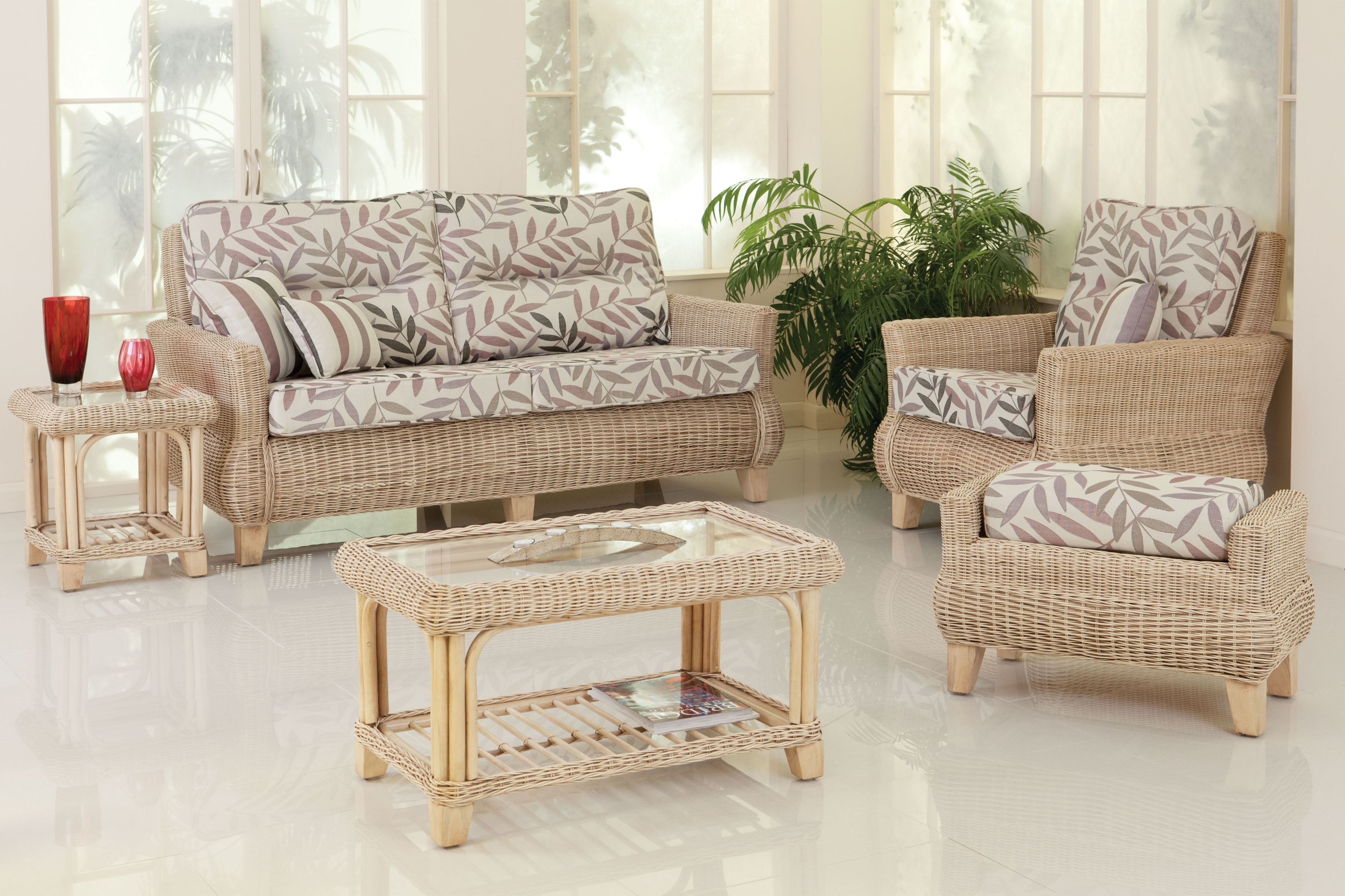 Cane Conservatory Furniture For Indoor And Outdoor Design : Cane Sofas Glass Table White Tile Red Vas Green Plant