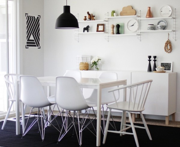 Side Chairs For Dining Room Crafted In Attractive Styles : Casual Black And White Dining Room E1348779148531