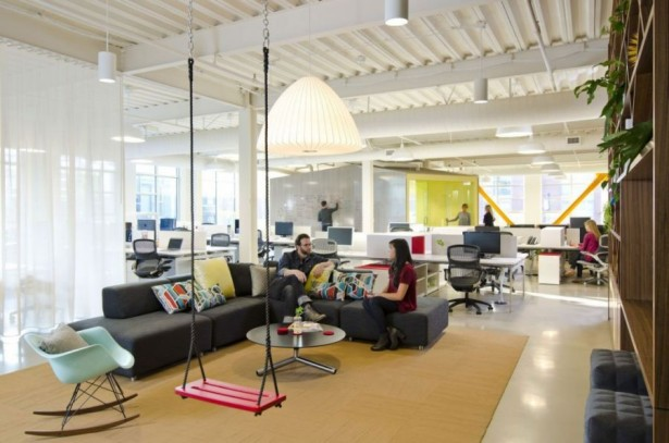 Remarkable Open Office Design Of Portland Based Firm: Casual Work Space Designed By Boora Architects With Swinger And Grey Sofa ~ stevenwardhair.com Office & Workspace Design Inspiration