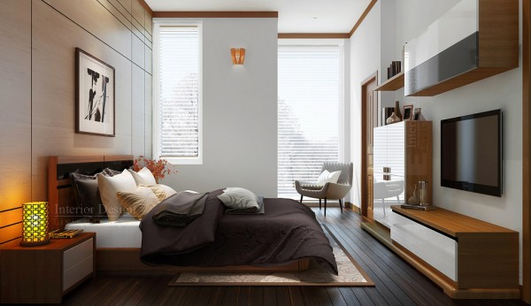 Gorgeous Home Interior Design With Masculine Touch: Charming Bedroom With Small Closet Vietnamese Visualizations With Commendable Concepts