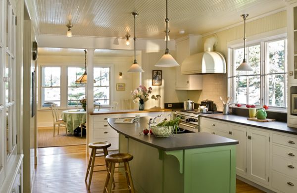 Doing Up Your Kitchen With Astounding Hanging Pendant Lights: 55 Inspiring Images : Charming Kitchen Space With Green Hues And Low Hanging Pendant Lighting