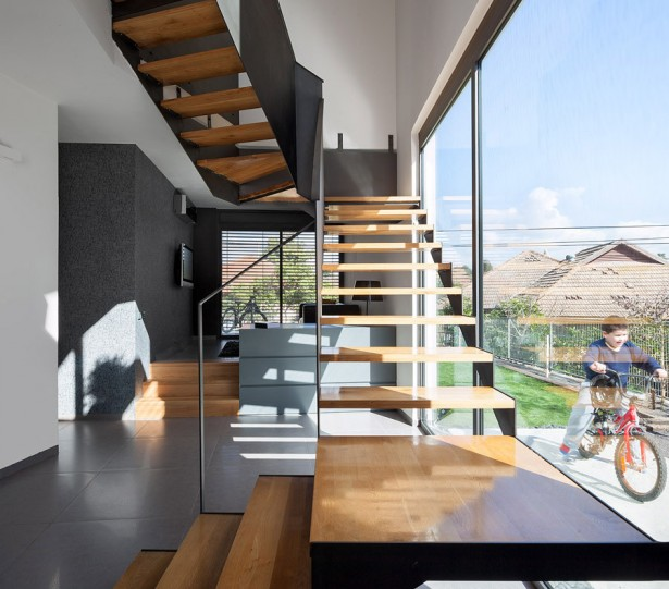 Imposing Trapezoidal Residence For You: Charming Staircase Wood Steps Imposing Trapezoidal Residence Interior ~ stevenwardhair.com Home Design Inspiration