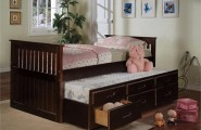 Twin Beds For Kids Comes With The Interesting Design : Cherry Twin Bed Trundle Drawers