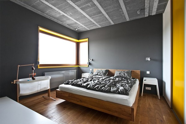 Scandinavian Minimalist House With Stylish Interior Design : Chic Bedroom With Ample Natural Ventilation With Floating Bed Design Ideas2