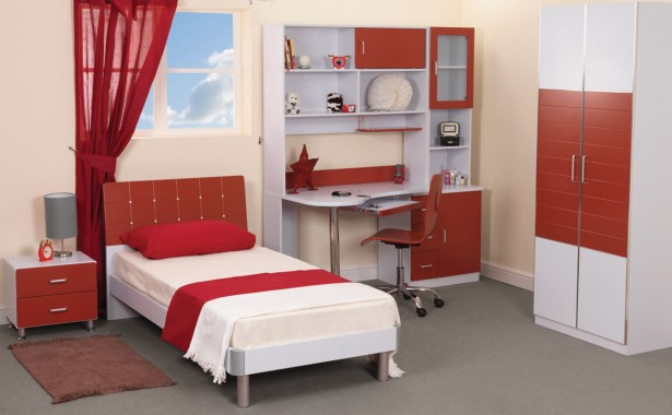 Fabulous Color Of Cool Teenage Bedroom Furniture: Chic Cool Teenage Bedroom Furniture Red White Bedroom Interior Color Design ~ stevenwardhair.com Bedroom Design Inspiration