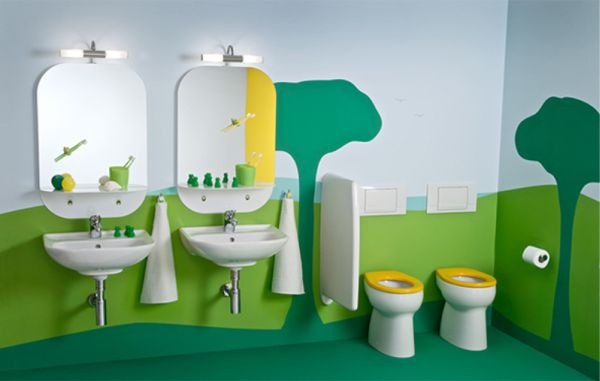 Kids Bathroom Design With Fun Ideas: Childrens Bathroom With A Extravagantly Playful And Vivid Theme