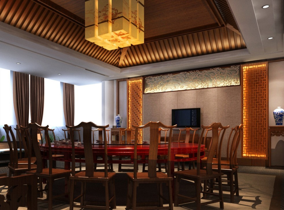 Aesthetic Asian Restaurant Interior Design With Warm Circumstance : Chinese Restaurant Droplight Design Rendering
