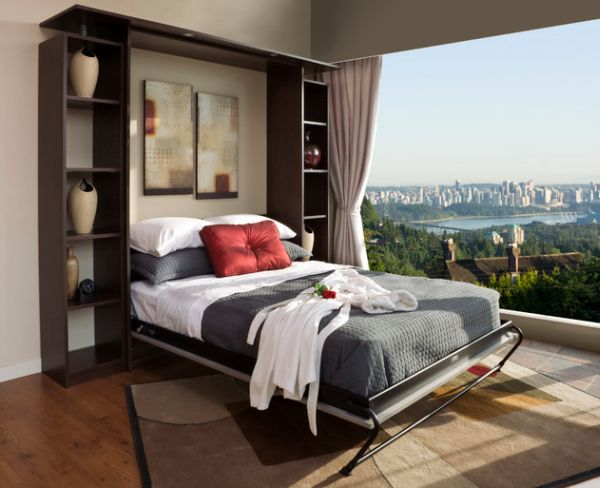Efficient Small Space Bed For Space Savings: Chocolate Apple Murphy Bed Unit As Gorgeous As The View Outside