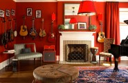 Modern Red Interior Decoration Bringing Excellent Decor : Christy Dillard Kratzer Red Living Room With Classic Fireplace