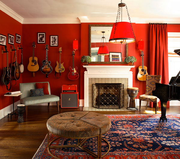 Modern Red Interior Decoration Bringing Excellent Decor: Christy Dillard Kratzer Red Living Room With Classic Fireplace