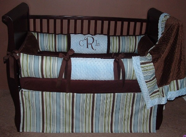 Colorful Baby Boy Nursery Interior Design: City Boy Stripes Baby Bedding In Simple Shades