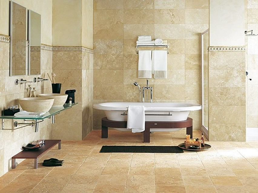 Wonderful Bathroom Tile Design Ideas To Decorate Contemporary Bathroom : Classic Floor Tile Bathroom White Bath Tub Cream Bathroom Tile Design Ideas