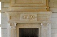 Classic Fireplace Mantel Designs For Old Lounge Look : Classic Granite Style Artistic Shape Fireplace Mantel Designs