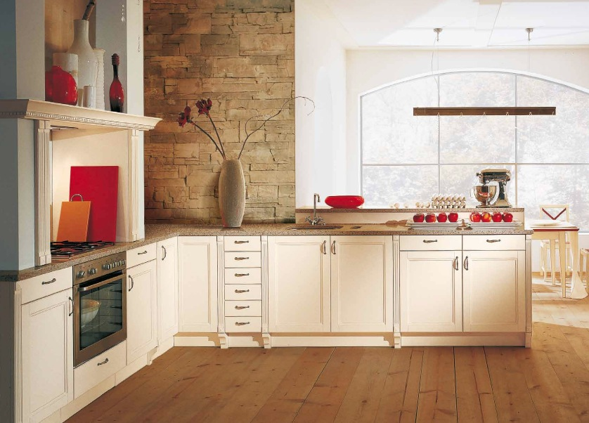Surprising Kitchen Design At Home : Classic Kitchen Red Accents