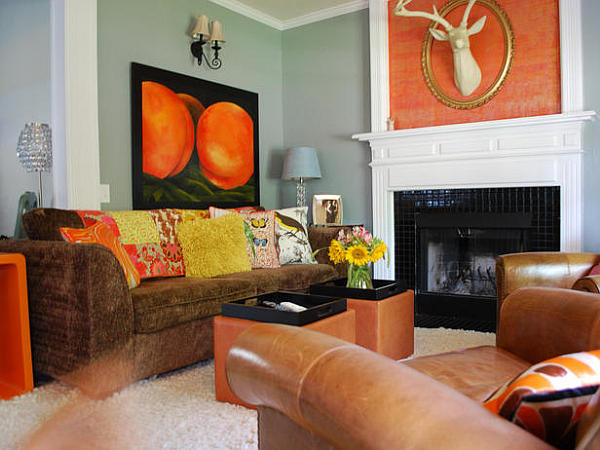 Beautiful Orange Interior Paint To Energize Your Life Every Day! : Classic Living Room With Some Orange Accesories Beautify The Room