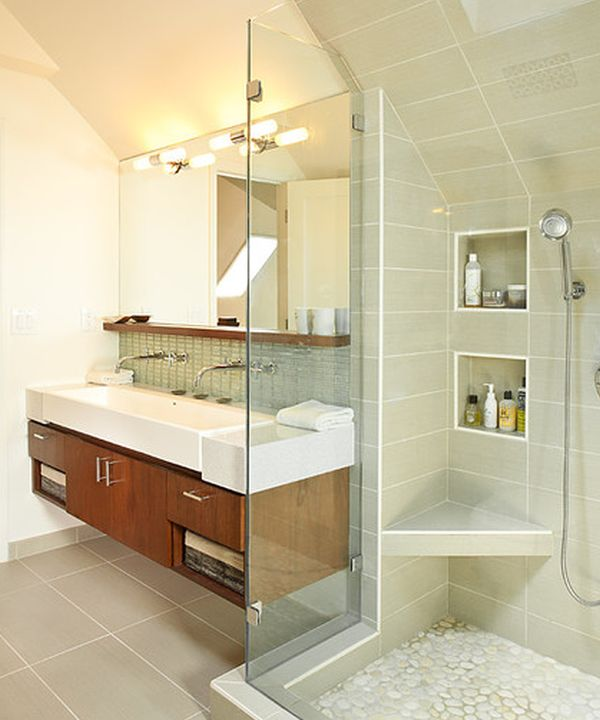 Floating Cabinet And Vanity Set For Every Home: Classy Floating Sink Cabinet Set In A Contemporary Bathroom Clad In Glass