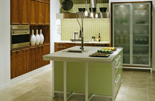 25 Designs Of Glass Door Refrigerators: Classy Modern Kitchen In Green With Glass Door Refrigerator That Steals The Spotlight ~ stevenwardhair.com Doors Inspiration