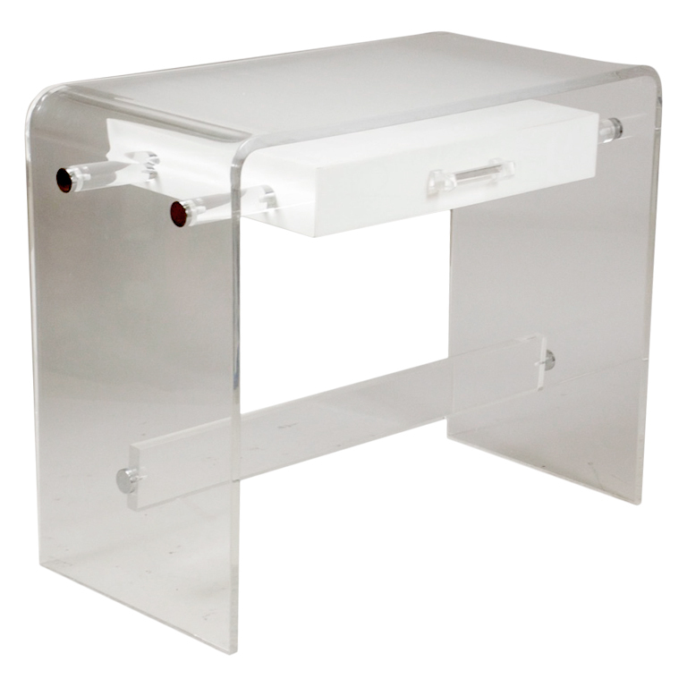 Stylish Lucite Desk For Clear Beauty: Clear Frosted White Lucite Desk