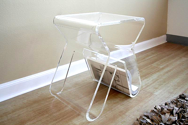 Amazing 20 Chic Acrylic Coffee Tables In Your House: Clear Lucite Side Table Magazine Rack