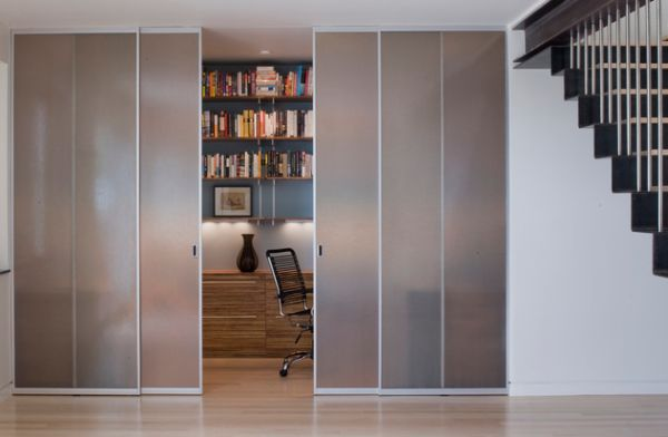 Stylish Sliding Glass Door Designs: 40 Modern Images : Closet Styled Frosted Glass Doors To Tuck Away Home Office Space