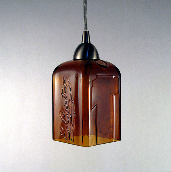 Creative DIY Lamp Design From Second Hand Items: Cointreau Liqueur Bottle Turned Pendant Light Fixture
