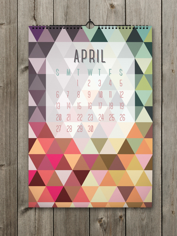 Unique Calendar Shape Designs With Colorful Ideas For 2014 : Colorful April Calendar With Big Letters And Number On The Wooden Wall