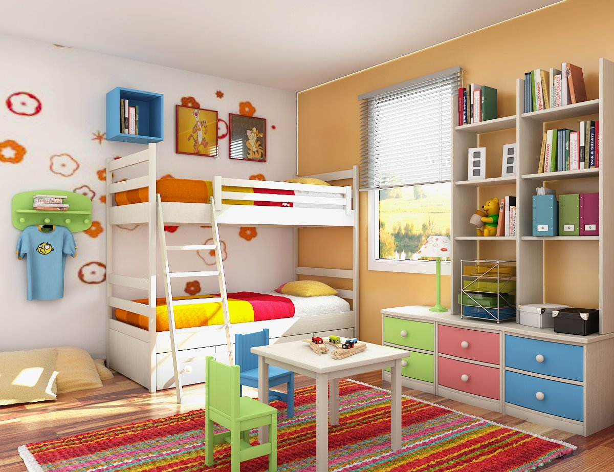 Great Bedroom Layout For Everyone : Colorful Bedroom Design For Children With Wooden Furniture